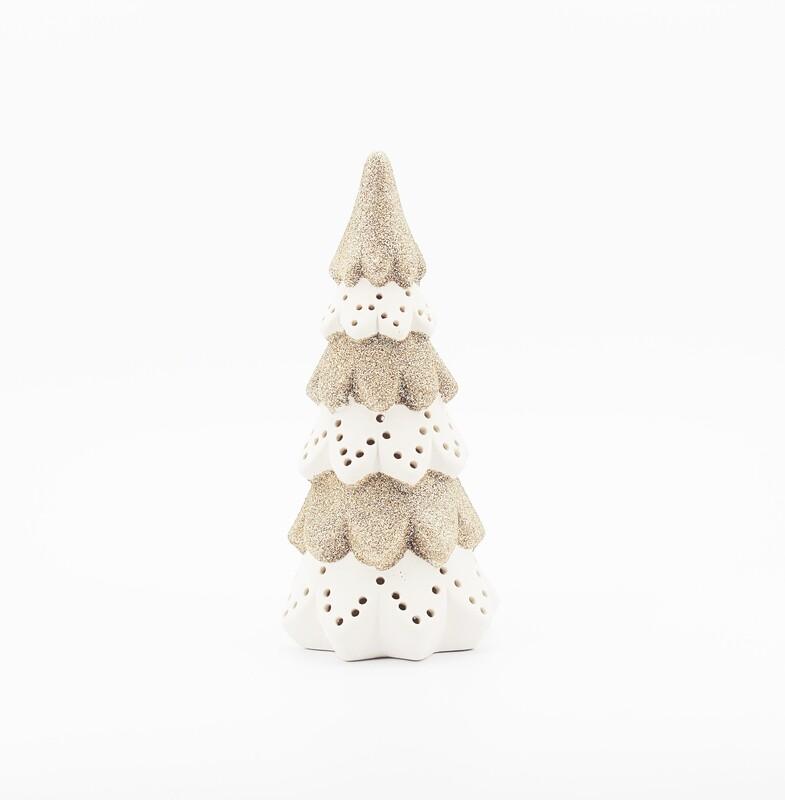 Albero natalizio glitter con led Pz. 1