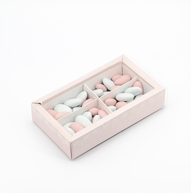 Scatolo quadrato rosa con fascina più inserto Pz.10