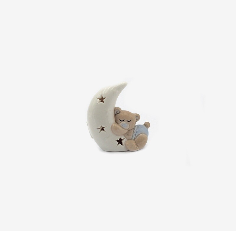 Bomboniera orsetto piccolo celeste su luna  Pz. 6