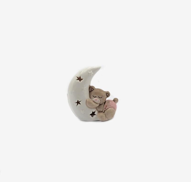 Bomboniera orsetto piccolo rosa su luna  Pz. 6