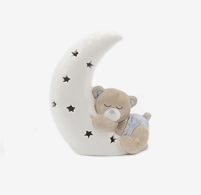 Bomboniera orsetto celeste su luna a led Pz. 1