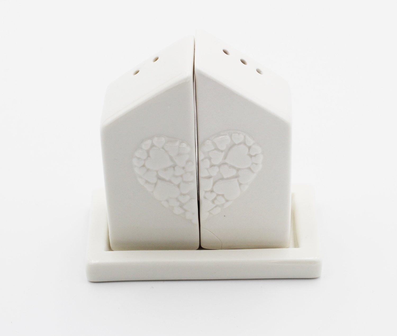 Bomboniera  in ceramica set sale e pepe cuore Pz. 1