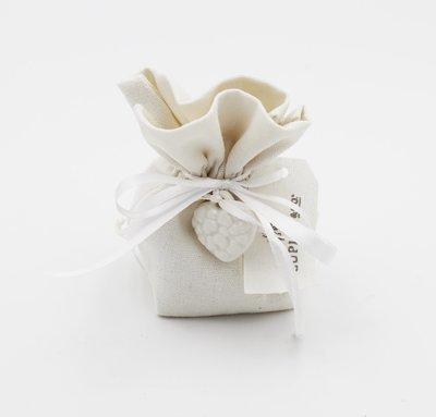 Saccoccio bianco con targhetta confezione da 12 pezzi