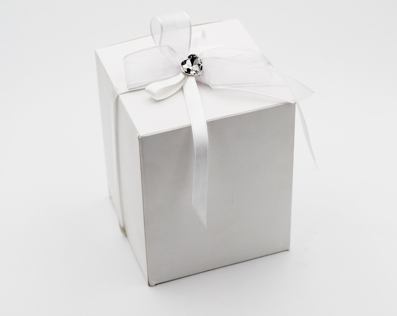 Scatolo pieghevole lino bianco confezioni da pz. 25