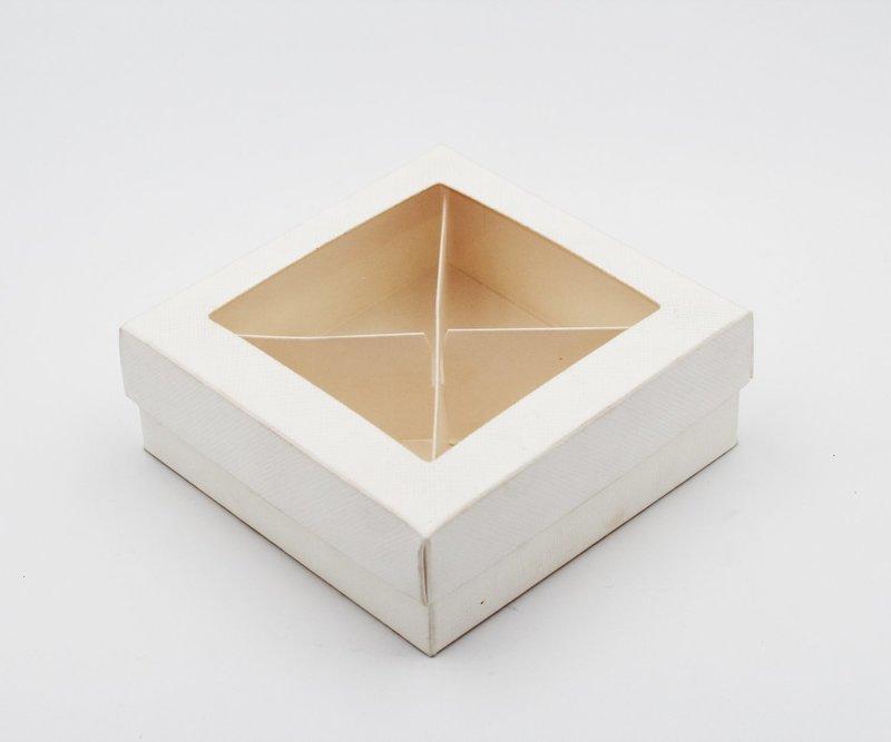 Scatolo fondo e coperchio trasparente seta bianco Pz.10