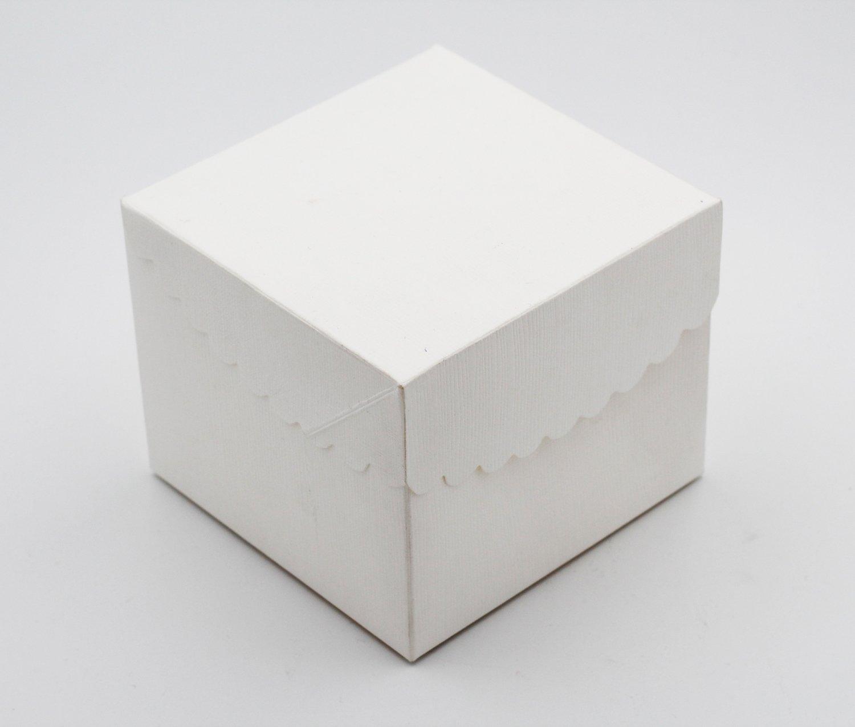 Scatolo pieghevole con coperchio seta bianco confezioni da pz. 10