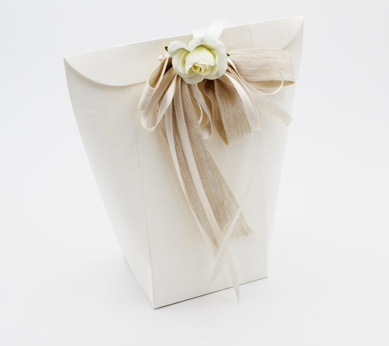 Scatolo shoppy seta bianco confezioni da pz. 10