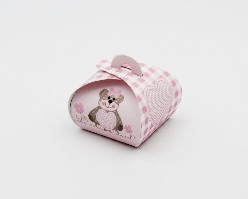 Scatolo tortina ted bear rosa confezioni da pz. 10