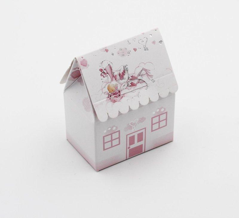 Scatola casetta cicogna rosa  Pz.10