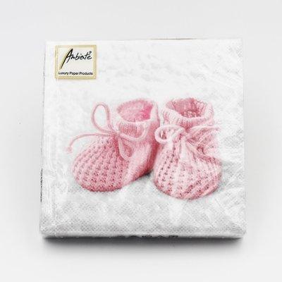 Tovaglioli per eventi scarpine neonato rosa Pz.20