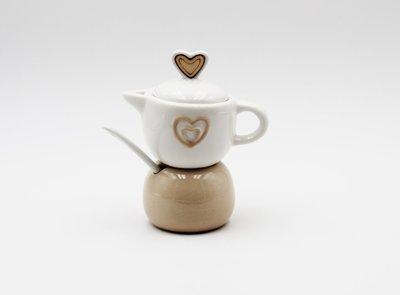 Bomboniera caffettiera ceramica con cuore Pz.1