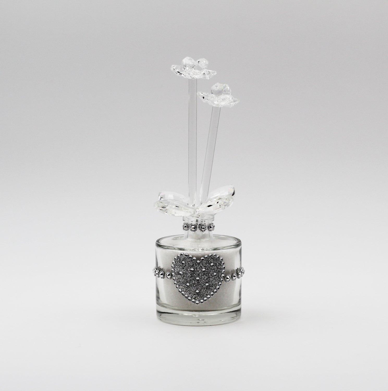 Bottiglia con fiore strass Pz.1