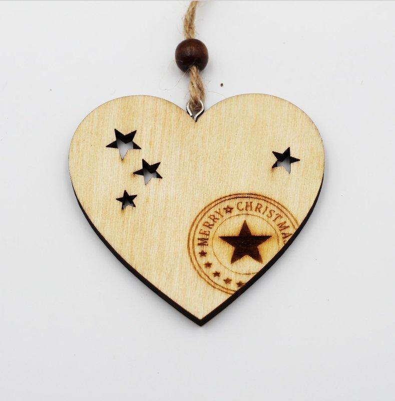 Applicazione cuore in legno con cordino Pz.6