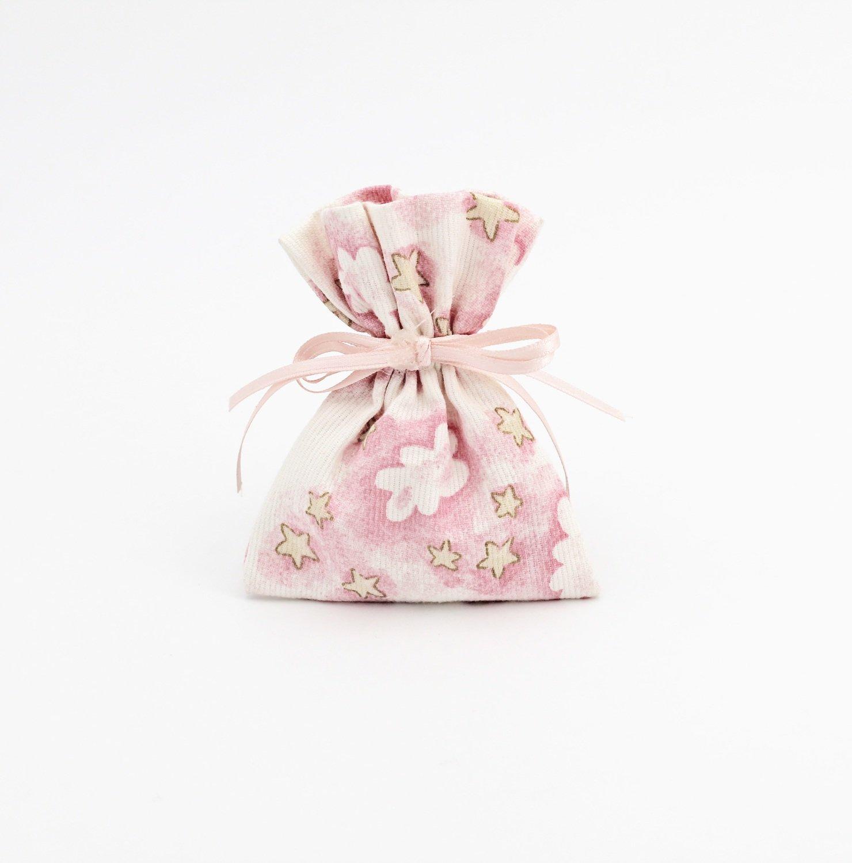 Sacchetto rosa con fantasia nuvole con stelle Pz. 12