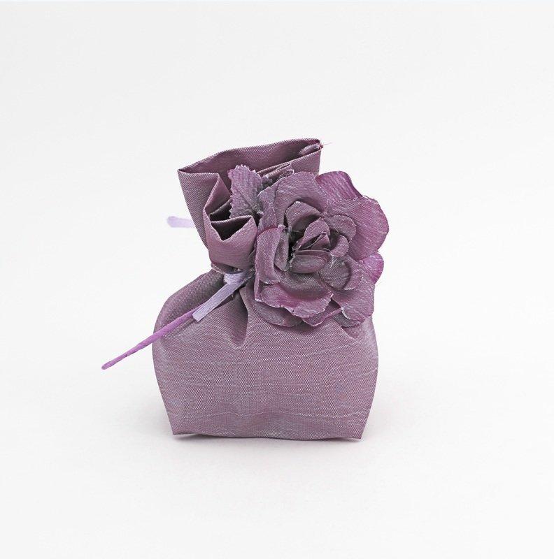 Sacchetto viola con fiore Pz.12