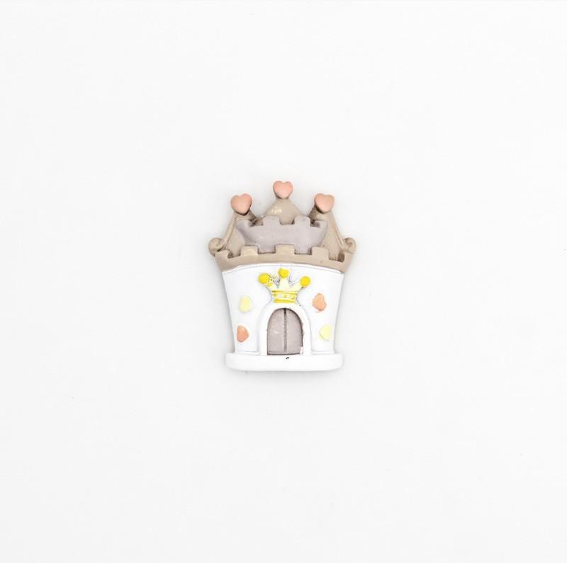 Bomboniera in resina castello calamitato principessa rosa  Pz.24