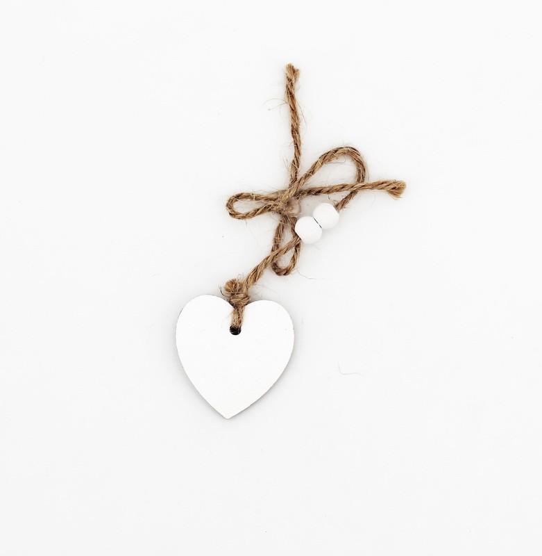 Fiocco con cuore bianco Pz. 12
