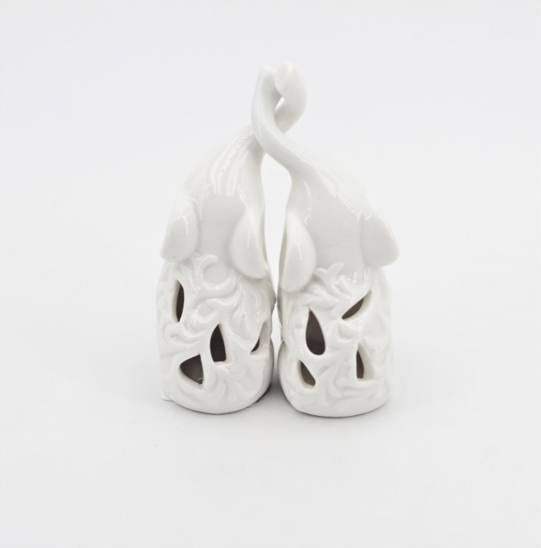 Bomboniera elefanti white con led Pz.2