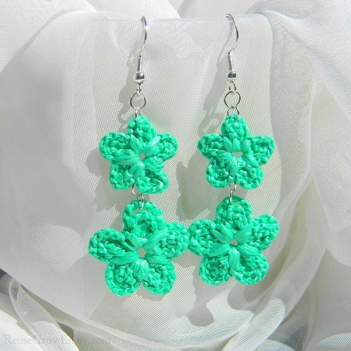 Mint Green Double Crochet Flower Upcycled Bag Earrings 6-456-Green-Double
