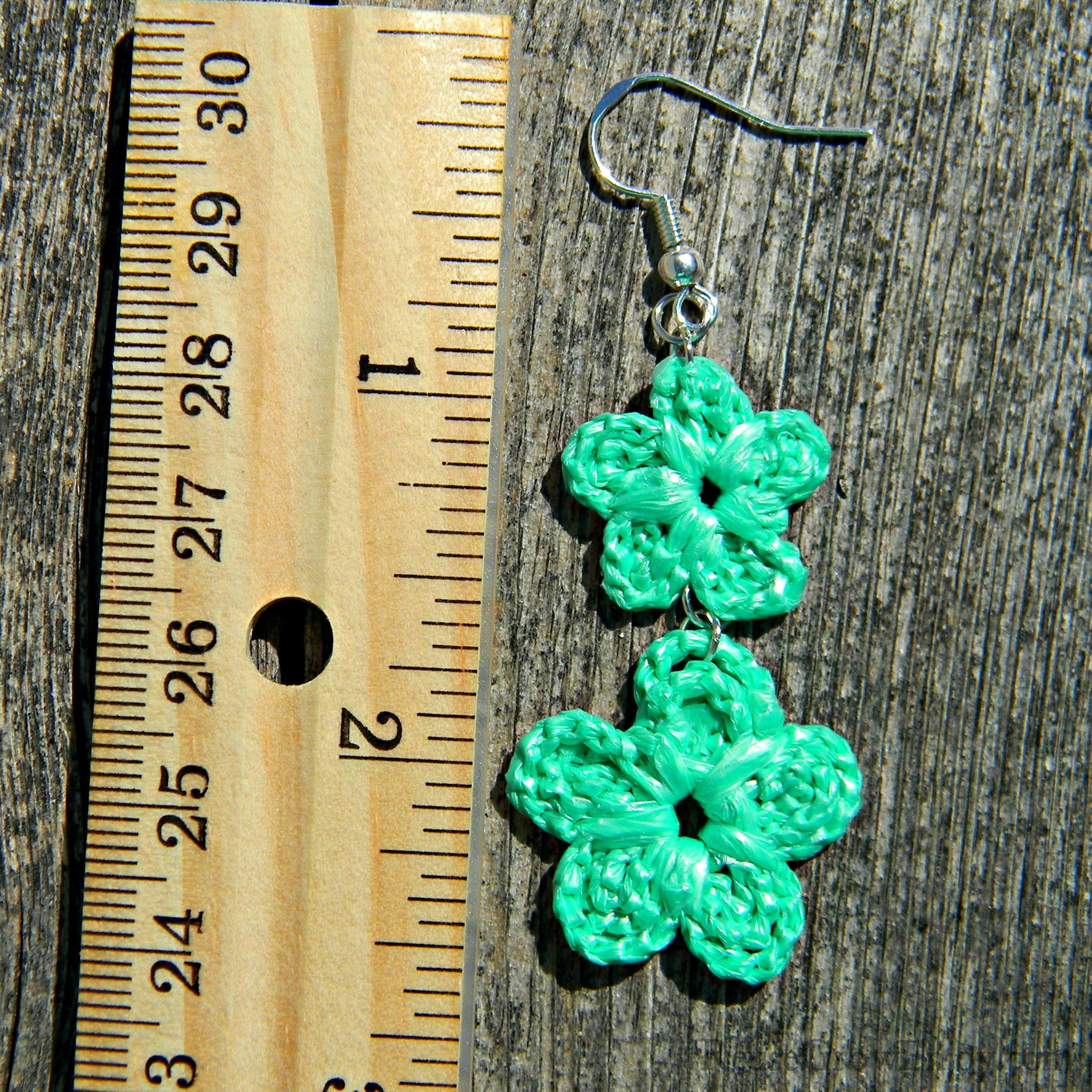 Mint Green Double Crochet Flower Upcycled Bag Earrings