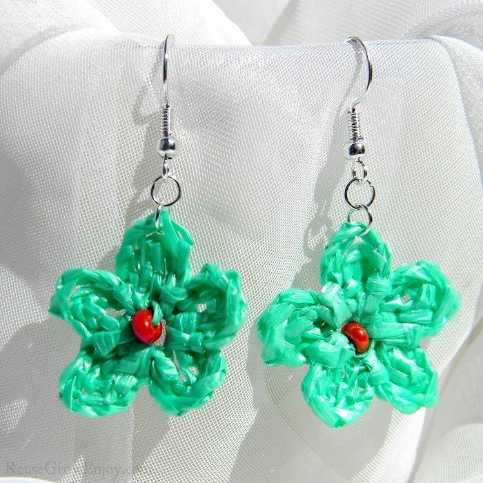 Mint Green Crochet Flower Upcycled Bag Earrings With Pink Bead In Center C-456-Green-Bead