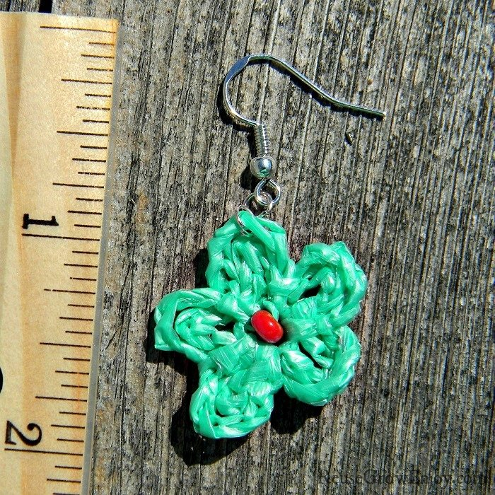 Mint Green Crochet Flower Upcycled Bag Earrings With Pink Bead In Center