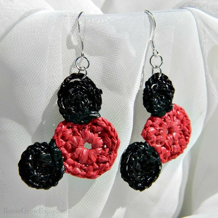 Red & Black Mouse Upcycled Bag Earrings 6-Mouse