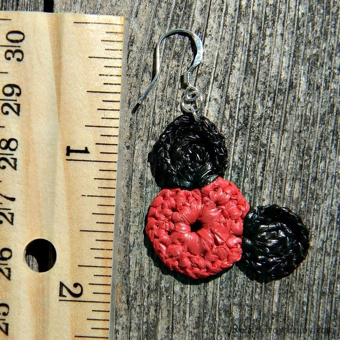 Red & Black Mouse Upcycled Bag Earrings