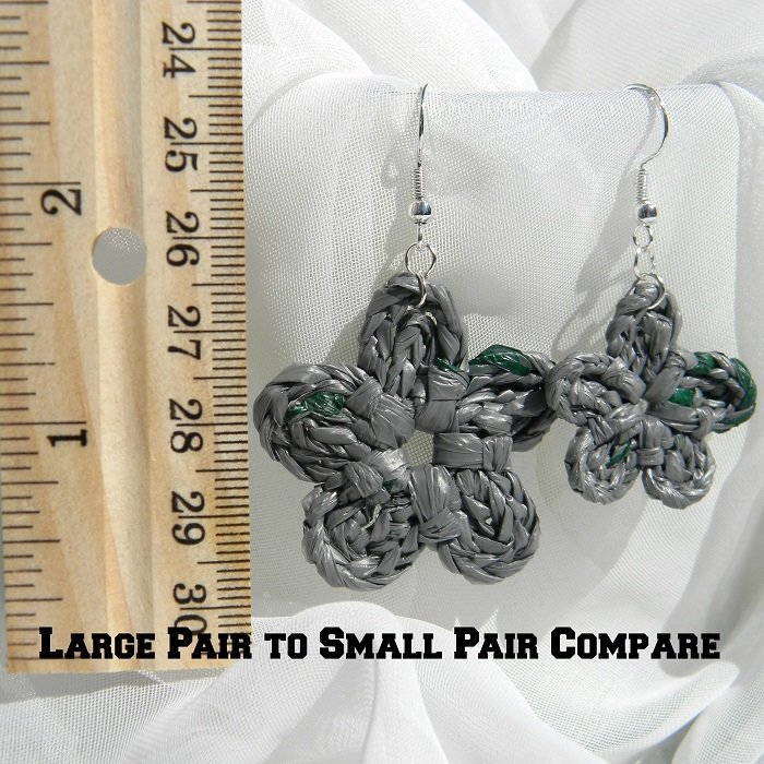 Large Gray With Dark Green Flecks Crochet Flower Upcycled Bag Earrings