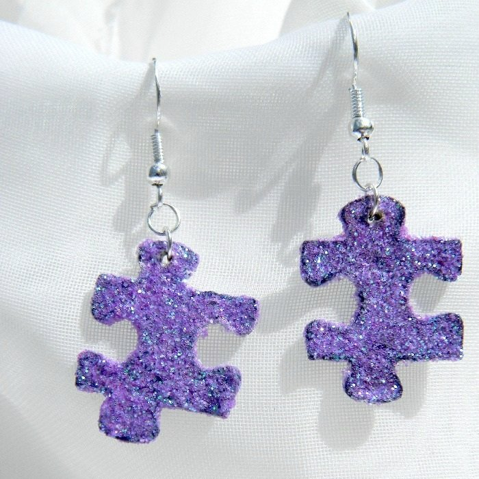 Purple Glitter Upcycled Puzzle Piece Earrings pg-puzle