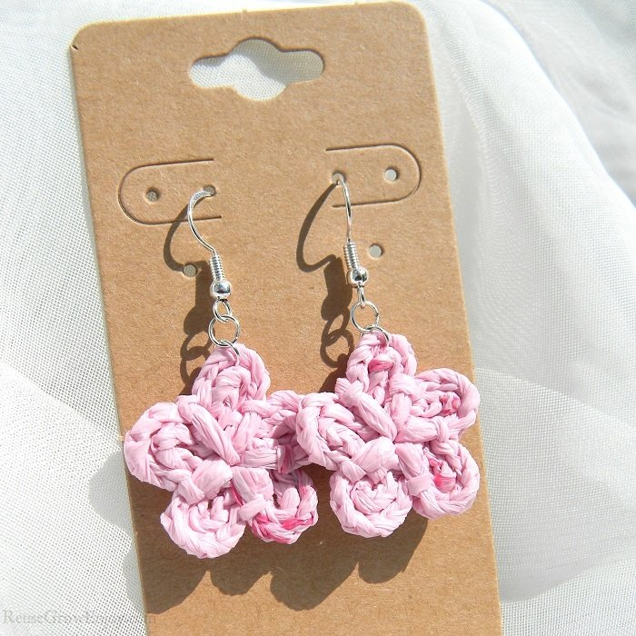 Small Light Pink With Dark Pink Flecks Crochet Flower Upcycled Bag Earrings 6-456-pink