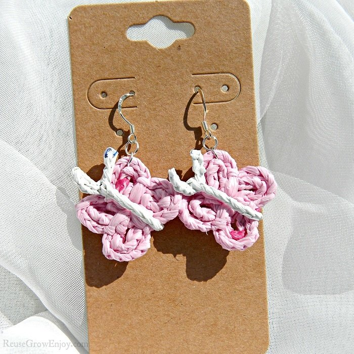 Light Pink With Dark Pink Flecks Crochet Butterfly Upcycled Bag Earrings 6-butterfly
