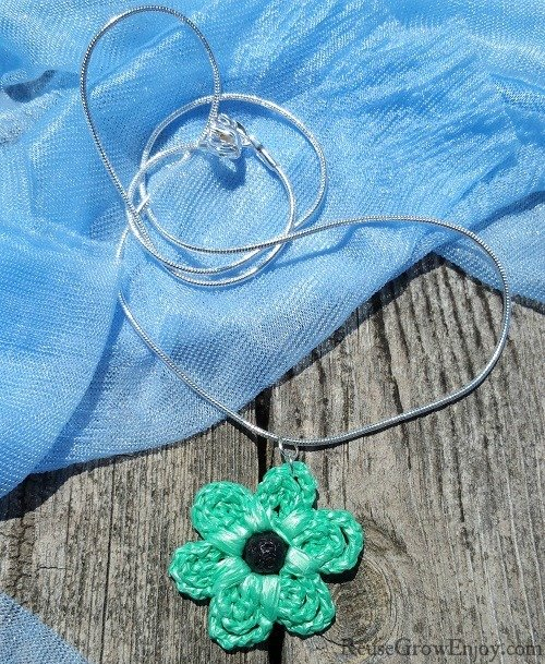 Essential Oil Diffuser Mint Green Crochet Flower Upcycled Bag Necklace With Black Lava Bead In Center 00000