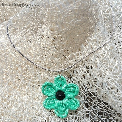 Essential Oil Diffuser Mint Green Crochet Flower Upcycled Bag Necklace With Black Lava Bead In Center