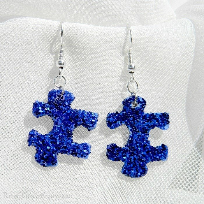 Purple Glitter Upcycled Puzzle Piece Earrings