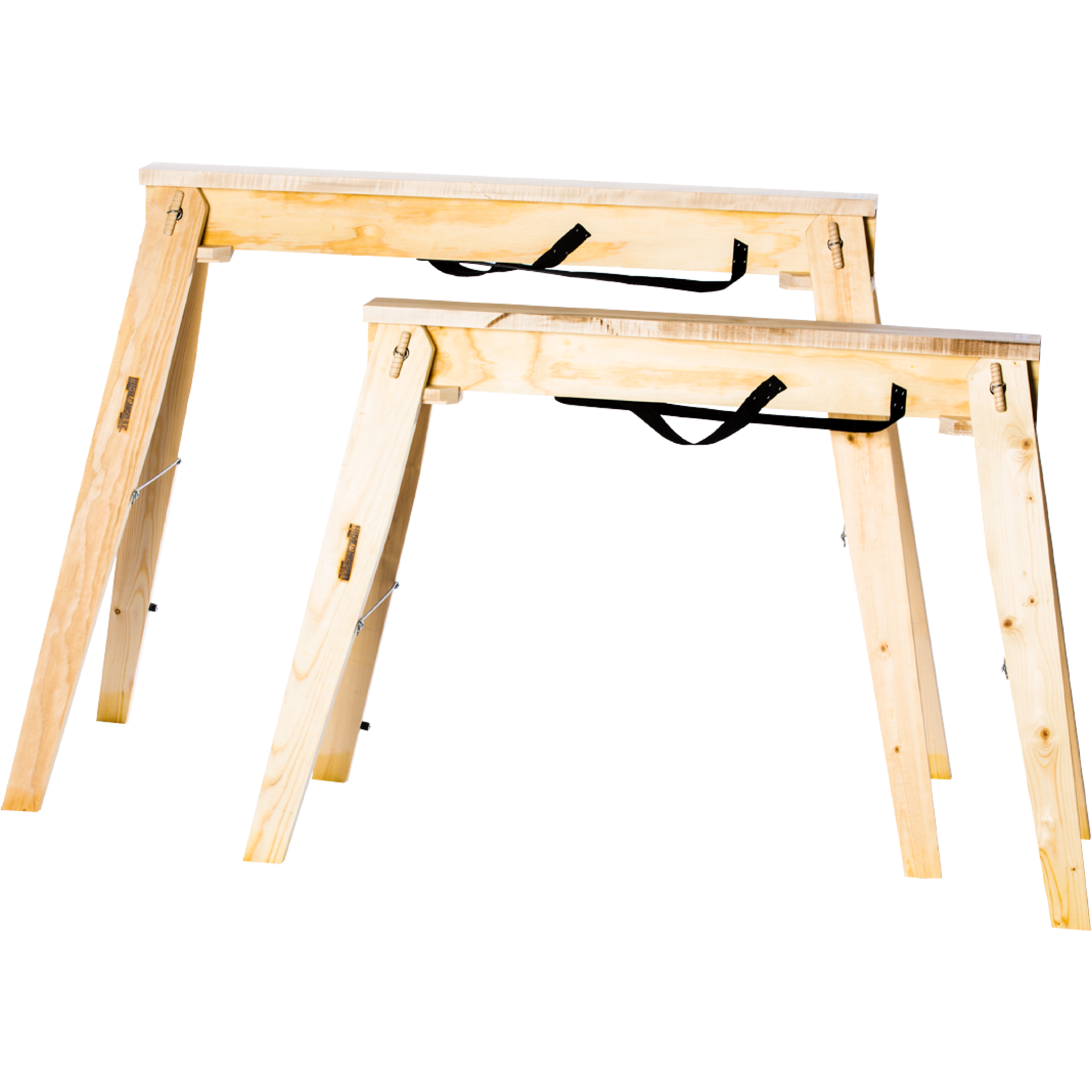 Tall and Standard Size Comparison of Hide-A-Horse Folding Sawhorses