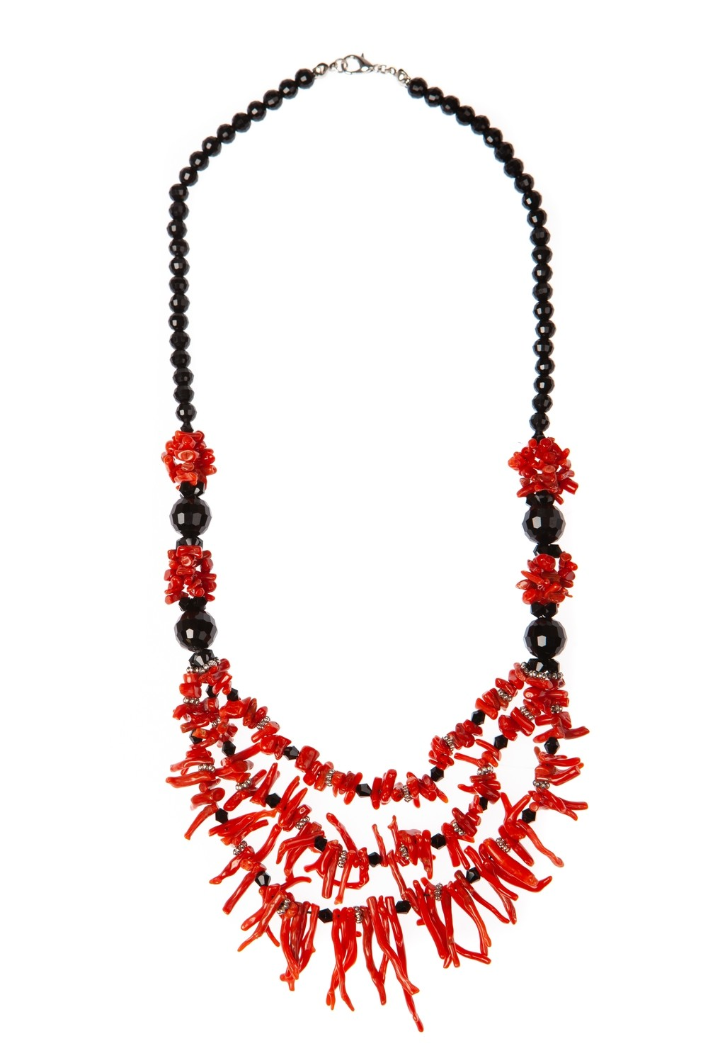 Collana multifilo di agata nera sfaccettata e rametti di corallo Rosso del Mediterraneo - Multi-strand necklace of black faceted agate and Mediterranean red coral branches