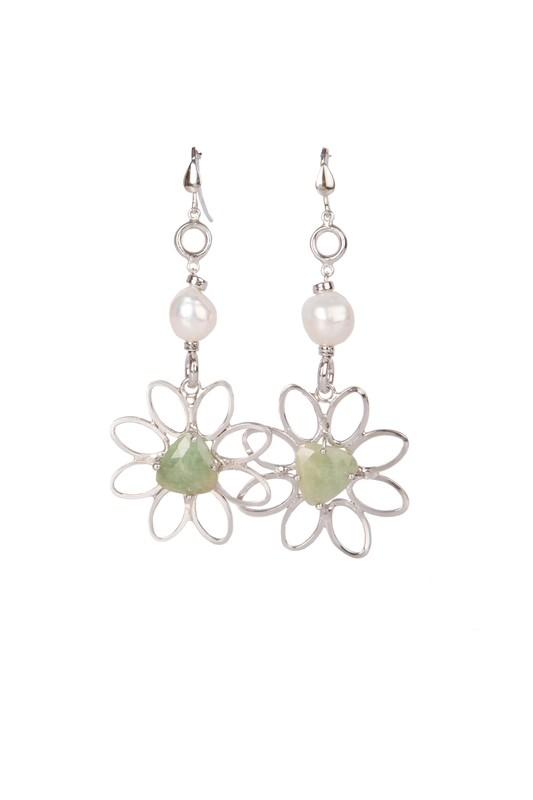 Orecchini in argento 925 con zaffiri e perle di fiume - 925 Silver earrings with sapphires and freshwater pearls