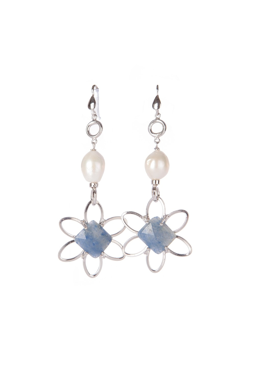 Orecchini in argento 925 con zaffiri e perle di fiume - 925 Silver earrings with sapphires and freshwater pearls
