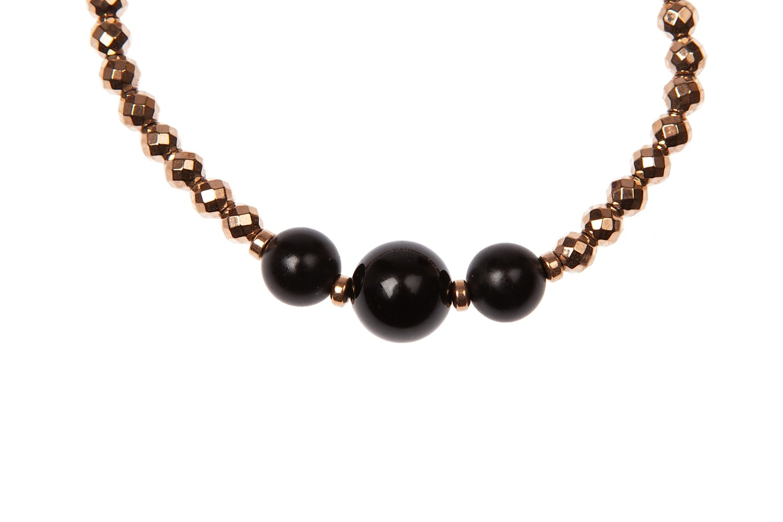 Bracciale elastico in ematite sfaccettata e agata nera- Elastic bracelet in faceted hematite and black agate