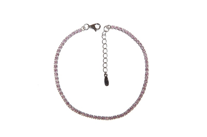 Bracciale Tennis In argento 925 e zirconi rosa - Tennis bracelet in 925 silver and pink cubic zirconia