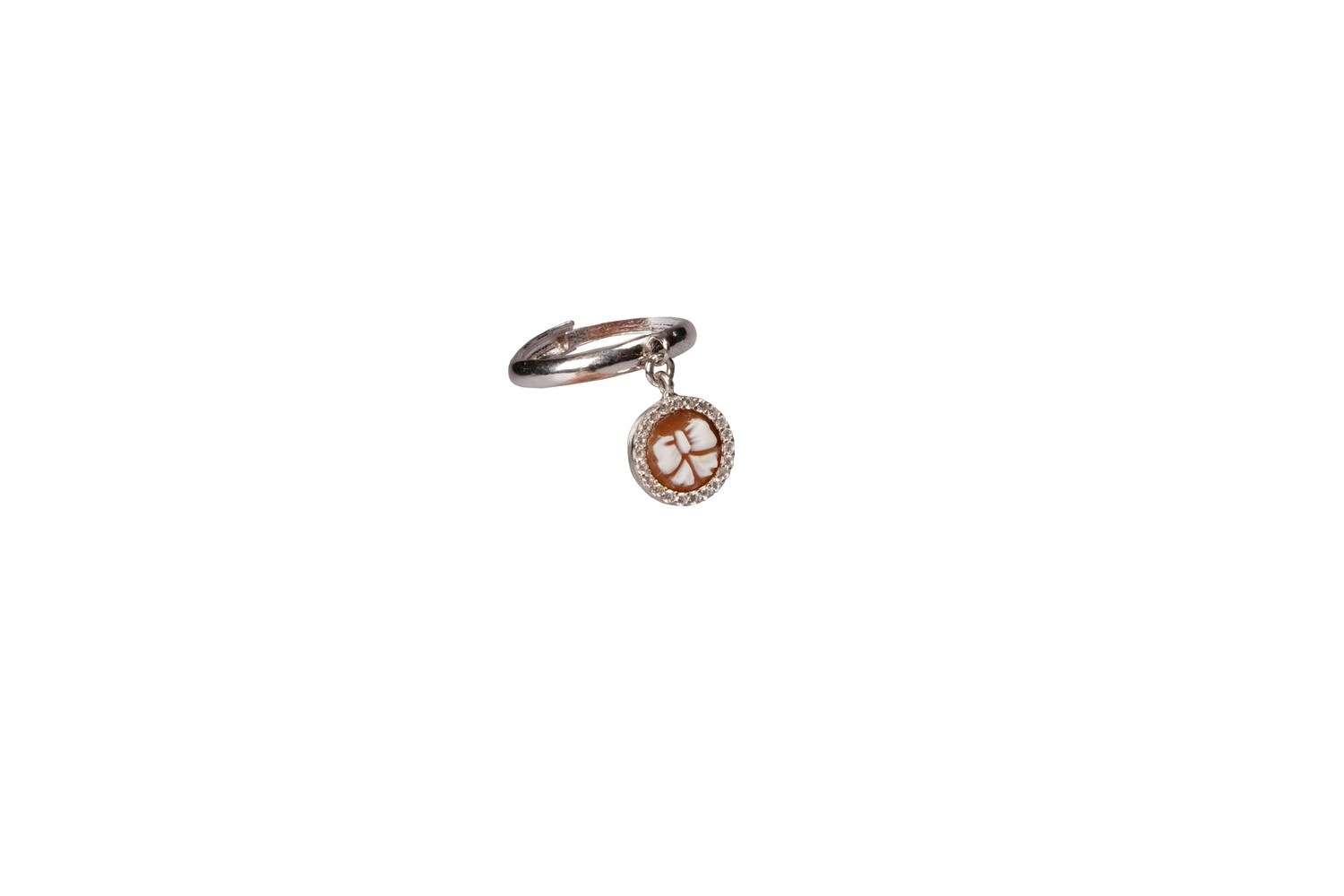 Anello regolabile in argento 925 con charms in cammeo lavorato a mano 8 mm e zirconi - Adjustable ring in 925 silver with charms in handmade cameo 8 mm and cubic zirconia