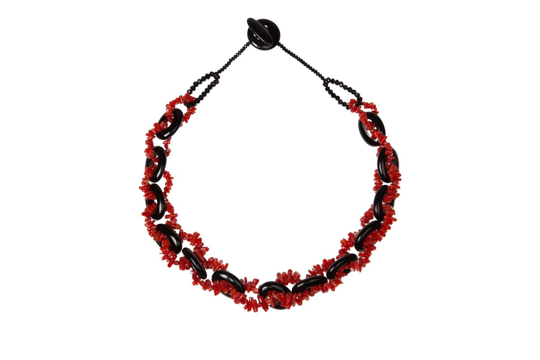 Collana con cerchi di agata nera e chips di corallo rosso del mediterraneo - Necklace with circles of black agate and Mediterranean red coral chips