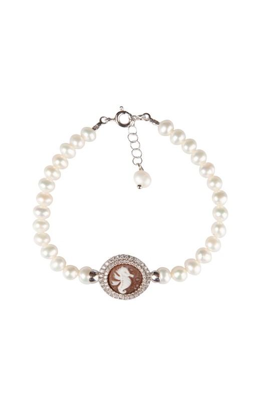Bracciale in argento 925 con cammeo lavorato a mano perle di fiume e zaffiri - 925 Silver bracelet with handmade cameo pearls and sapphires