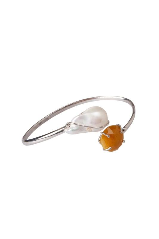 Bracciale in argento 925 con perla Keshi e zaffiro - 925 Silver bracelet with Keshi pearl and sapphire