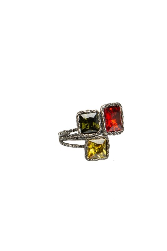 Anello regolabile in argento 925 brunito martellato e zirconi VERDE ROSSO GIALLO Linea Etrusca - Adjustable ring in hammered burnished 925 silver and zircons GREEN RED and YELLOW Etruscan Line