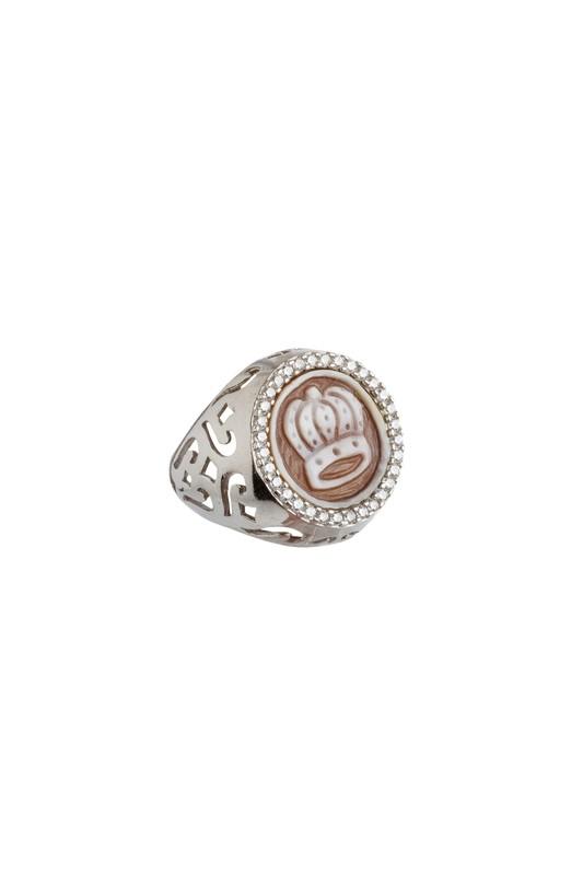 Anello regolabile in argento 925 lavorato a mano con cammeo in conchiglia sardonica e zirconi - Adjustable ring in 925 Silver handmade with cameo in sardonic shell and cubic zirconia