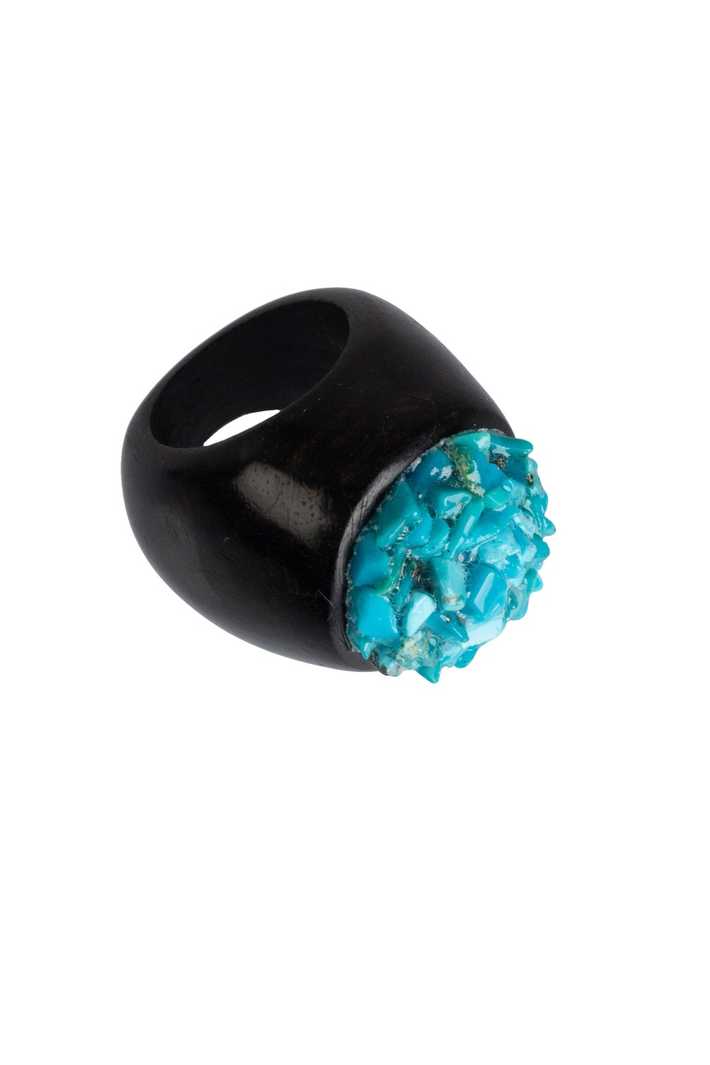 Anello in ebano con chips in Turchese   - Ebony ring with Turquoise chips
