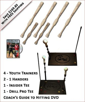 4 Youth Trainers, 2 - 1 Handers, Insider Tee, Pro Drill Tee & Coach's Guide to Hitting DVD