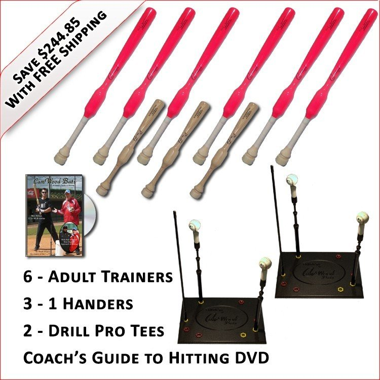 6 Adult  Softball Trainers, 3 - 1 Handers, 2 Drill Pro Tees & Coach's Guide to Hitting DVD
